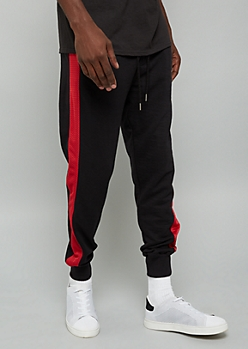 Black Mesh Side Striped Joggers