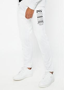 Parish Nation White Graphic Track Pants