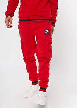 Parish Nation Red Cargo Striped Joggers