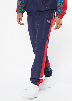 Parish Nation Navy Side Striped Logo Track Pants
