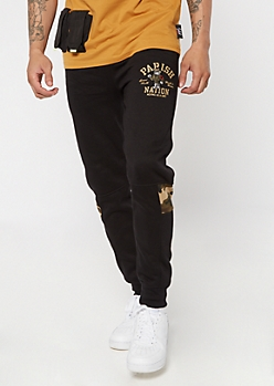 Parish Nation Black Camo Print Graphic Joggers