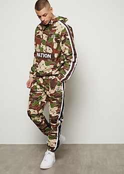 Parish Nation Camo Print Striped Track Joggers