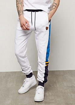 Parish Nation White Colorblock Side Striped Joggers