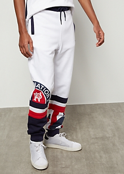 Parish Nation White Americana Colorblock Joggers