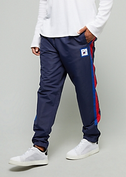 Navy Side Striped Slim Track Pants