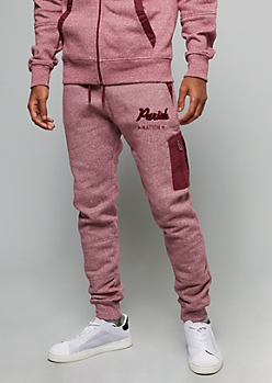 Parish Nation Burgundy Fuzzy Chenille Graphic Joggers