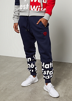 Parish Nation Navy Verbiage Graphic Joggers