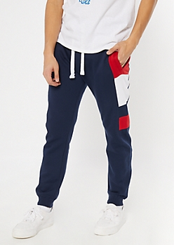 Blue Colorblock Fleece Joggers