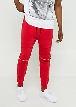 Red Split Knee Soft Knit Joggers