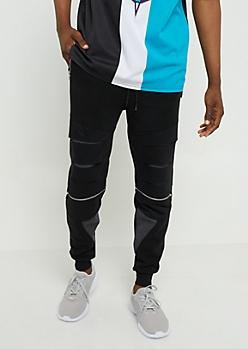 Black Zipper Pocket Soft Knit Joggers