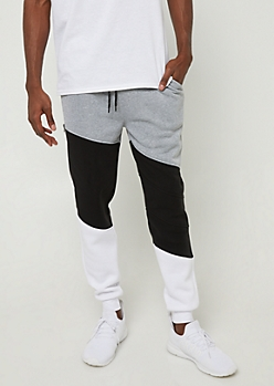 Black Colorblock Soft Joggers