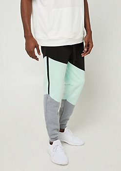 Mint Colorblock Soft Joggers