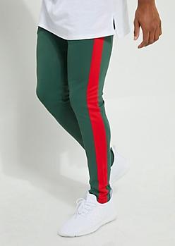 Green Color Block Side Stripe Tricot Pants