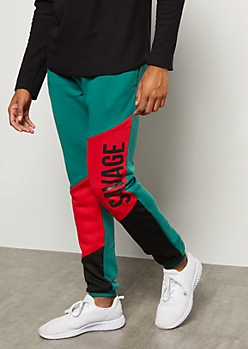 Green Colorblock Raised Savage Graphic Joggers