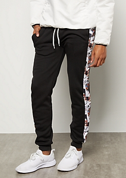 Black Deck Of Cards Side Striped Graphic Joggers