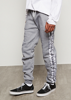 Heather Gray Newspaper Side Striped Joggers
