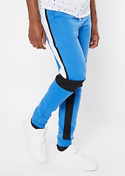 Blue Colorblock Side Striped Joggers