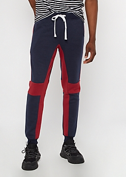 Navy Colorblock Side Striped Joggers