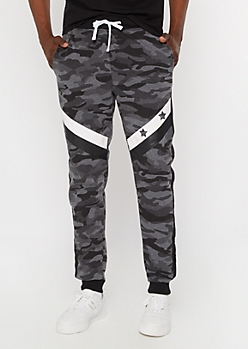Black Camo Print Star Striped Joggers