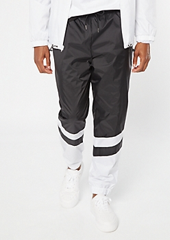 Black Colorblock Swishy Nylon Track Pants