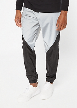 Reflective Silver Colorblock Swishy Nylon Track Pants