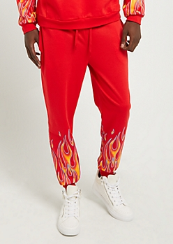 Red Flame Print Soft Knit Joggers