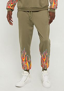 Olive Flame Print Soft Knit Joggers