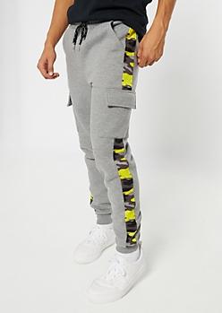 Gray Cargo Camo Print Stripe Joggers