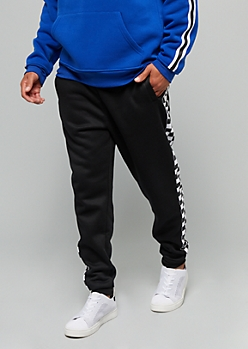 Black Checkered Print Side Striped Fleece Joggers