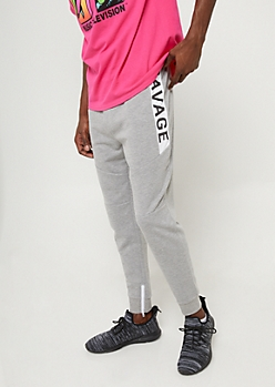Heather Grey Savage Zip Joggers