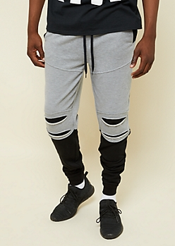 Heather Gray Colorblock Ripped Moto Active Joggers