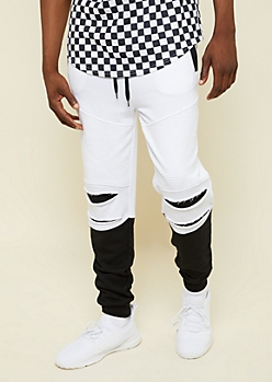 White Colorblock Ripped Moto Active Joggers