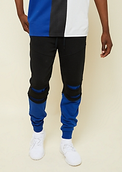 Blue Colorblock Ripped Moto Active Joggers