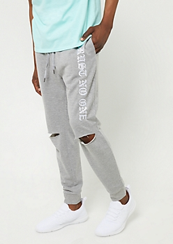 Heather Grey Trust No One Ripped Knee Joggers