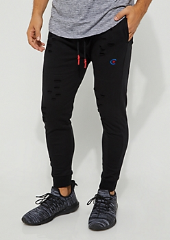 Black Ripped Joggers By Caliber