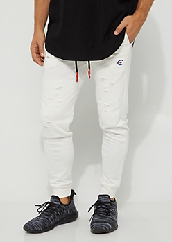 White Ripped Joggers By Caliber