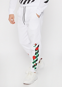 White Rose Embroidered Side Striped Joggers