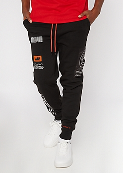 Black Out There Printed Patched Joggers