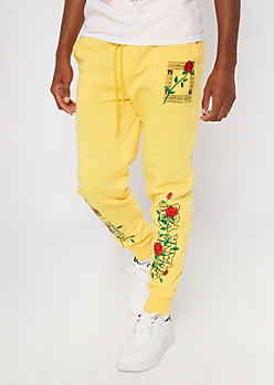 Yellow Thank You Rose Print Joggers