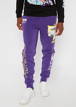 Purple Elemental Printed Patch Joggers