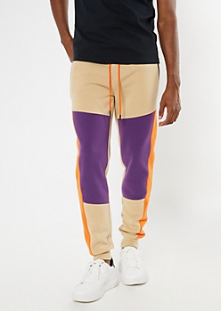 Tan Colorblock Side Striped Joggers