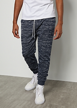 Navy Space Dye Soft Joggers