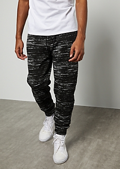 Black Space Dye Fleece Joggers