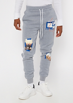 Heather Gray Travel Printed Patch Joggers