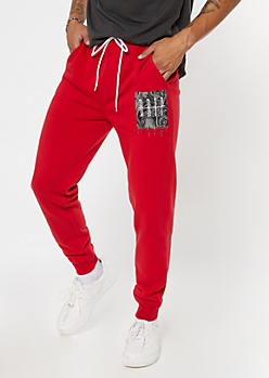 Red Drip Print Cozy Joggers