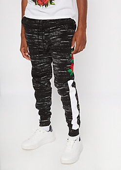 Black Space Dye Rose Embroidered Joggers