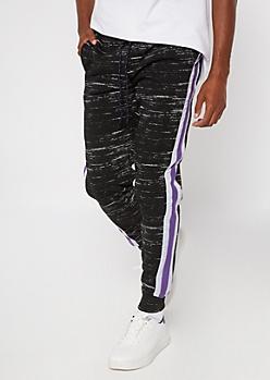 Black Space Dye Side Striped Joggers
