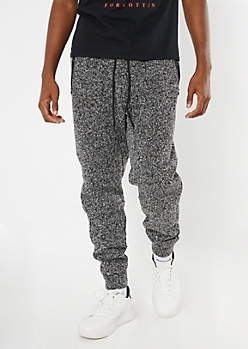Black Marled Cozy Knit Joggers