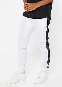 White Space Dye Side Striped Joggers