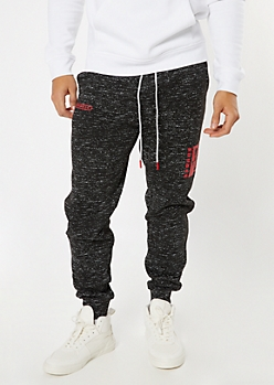 Black Marled Savage Ones Graphic Joggers